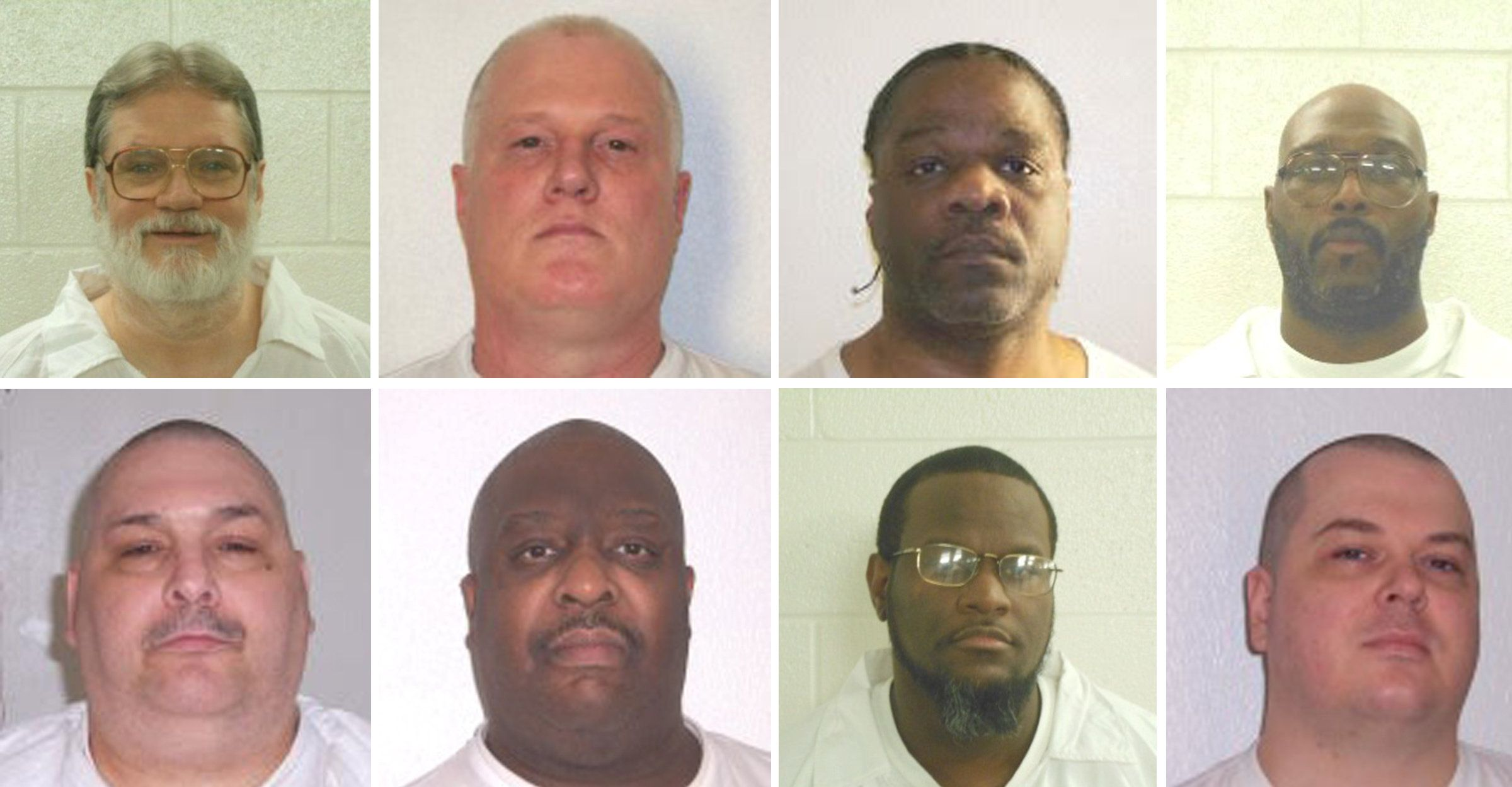 Inmates Bruce Ward (top row L to R), Don Davis, Ledell Lee, Stacy Johnson, Jack Jones (bottom row L to R), Marcel Williams, K