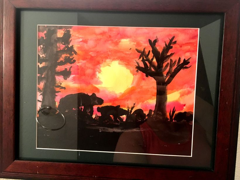 Mongoose at Sunset, Number 5, by Alden Glass, aged 5 (from the private collection of Marci and Justin Glass, used with permis