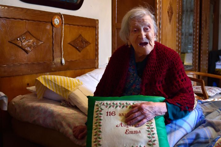 Morano poses for a photo after receiving the distinction of being the world's oldest known living person.