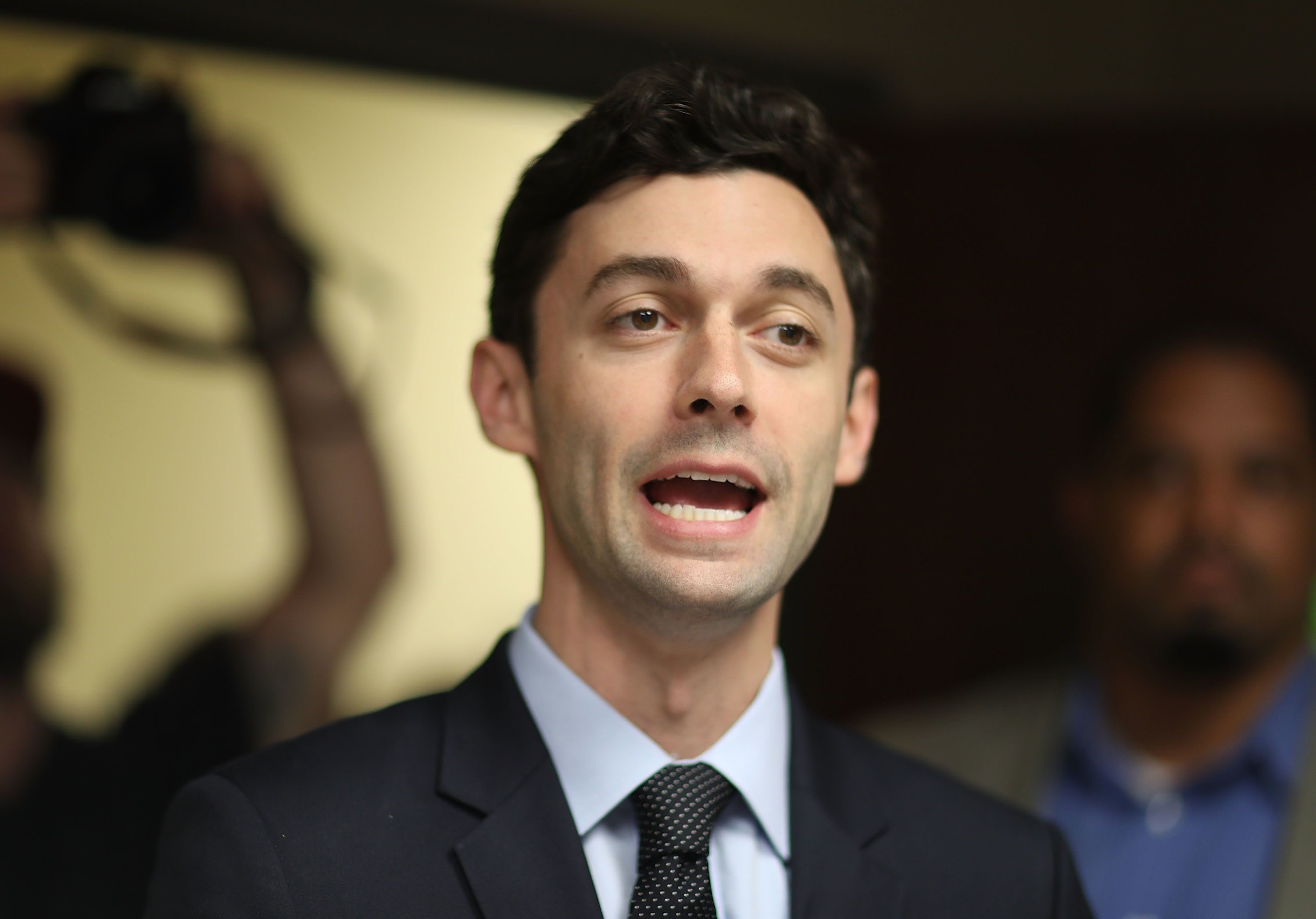 Democratic candidate Jon Ossoff speaks to supporters at a campaign office on April 15, 2017. Ossoff is running for Georg