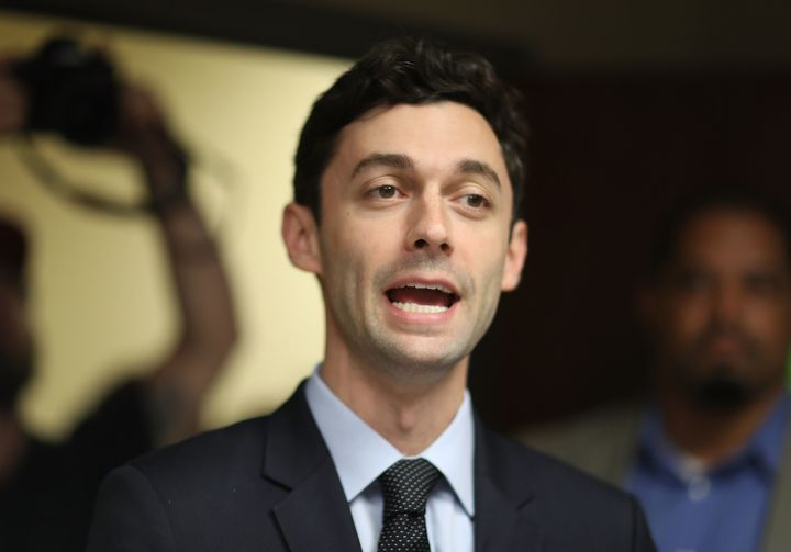 Democratic candidate Jon Ossoff speaks to supporters at a campaign office on April 15, 2017.Ossoff is running for Georg
