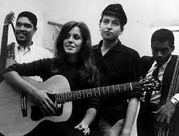 Langhorne, Carolyn Hester, Bob Dylan and Bill Lee (Spike's Dad) at 1961 session for a Hester album.
