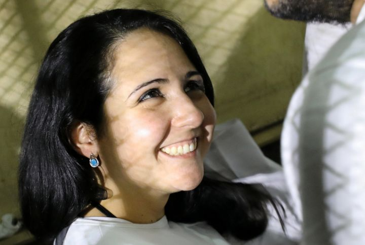Aya Hijazi in a holding cell in Cairo, Egypt.