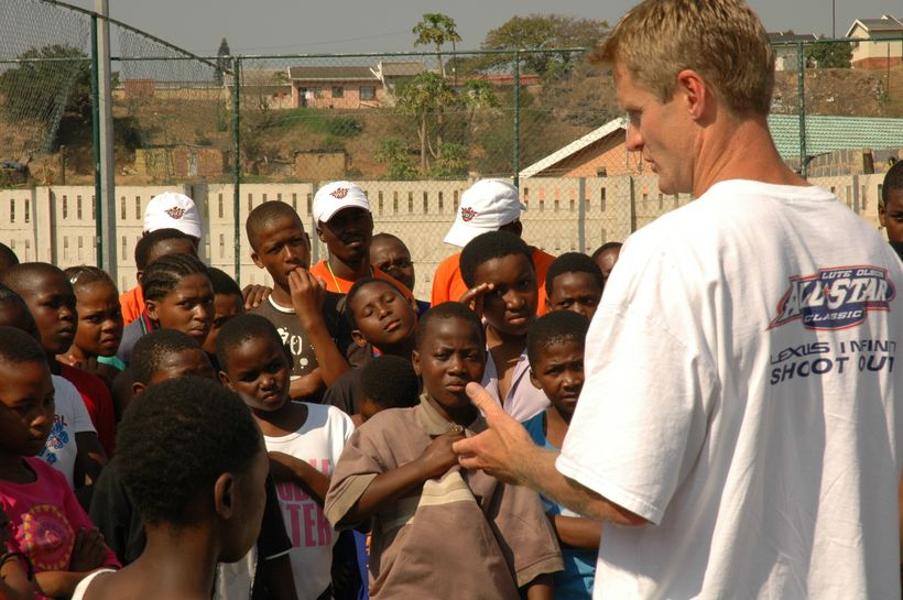 Steve Kerr, then General Manager for the Phoenix Suns (current Golden State Warriors Head Coach), talks to PeacePlayers Inter