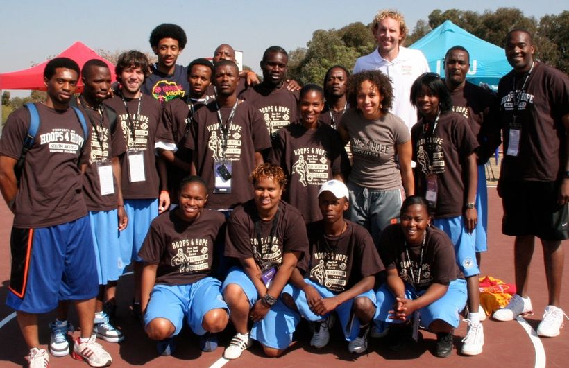 HOOPS 4 HOPE with NBA players at the 2007 NBA Basketball Without Borders Africa Camp.