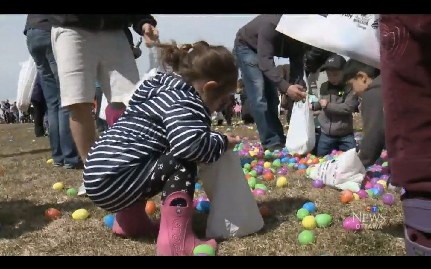 A little girl participates in an Easter Egg Drop in Ottawa, Canada on Saturday.