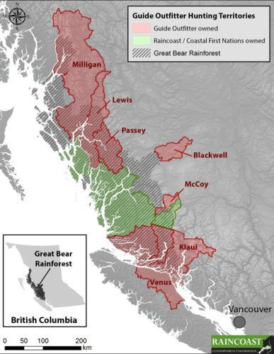 Map of Great Bear Rainforest and grizzly hunting territories.