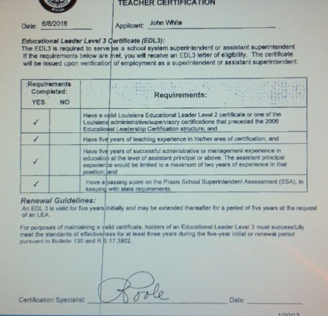 More from John White' ed cert application.