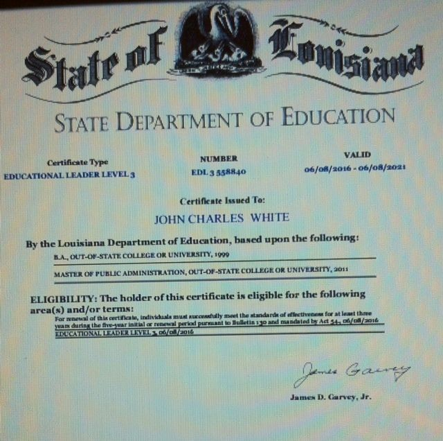 La. certificate purportedly certifying that John White has 5 years of teaching experience, and that in his area of certificat