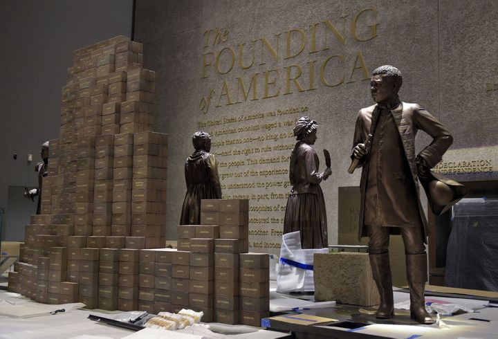 "Each brick represents an enslaved African ""owned"" by U.S. President Thomas Jefferson, principle author of the Declaration of"