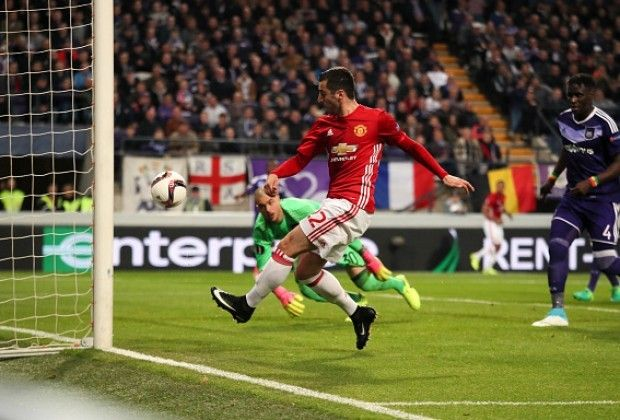 Henrikh Mkhitaryan gives Manchester United the crucial away goal in their Europa League quarterfinal match-up against Anderle