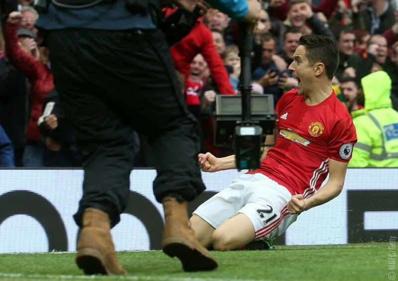 Man of the Match Ander Herrera celebrates after doubling Manchester United's lead over Chelsea just after the start of the se