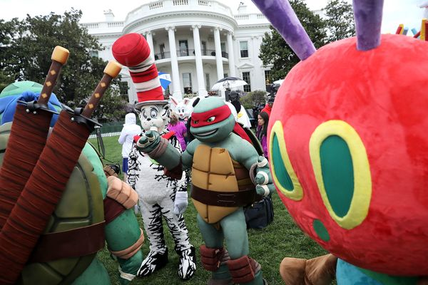 Costumed characters, including the Teenage Mutant Ninja Turtles, the Cat in the Hat and the Very Hungry Caterpillar, particip