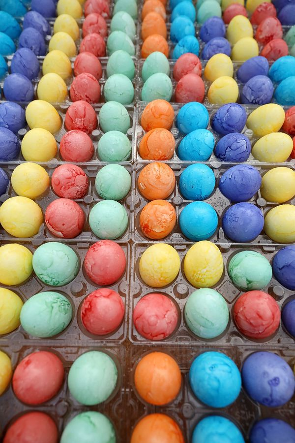 Thousands of dyed eggs are ready to be rolled by children during the 139th Easter Egg Roll.