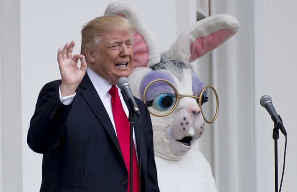 President Donald Trump speaks alongside the Easter Bunny during the 139th White House Easter Egg Roll on the South Lawn of th