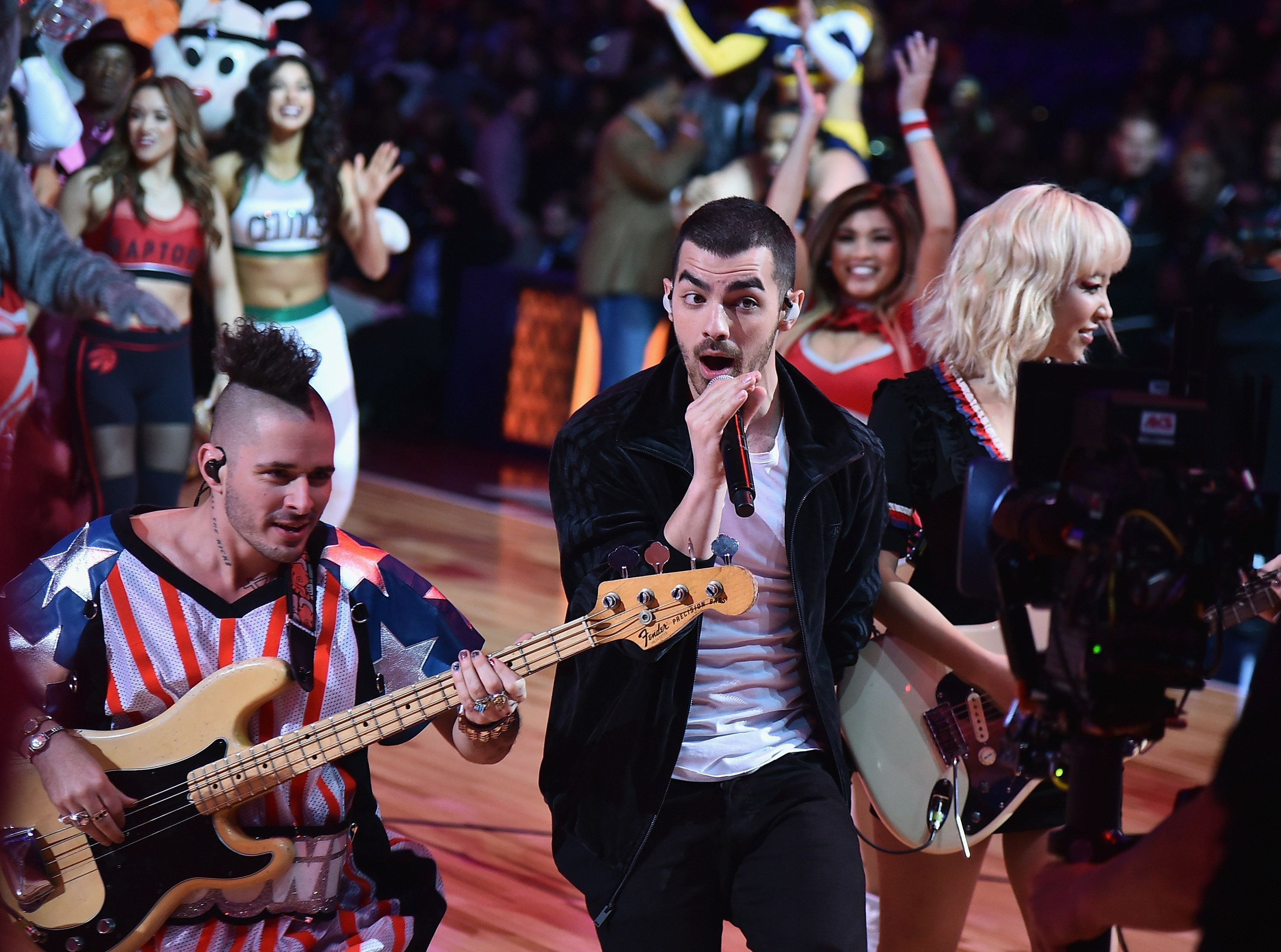 NEW ORLEANS, LA - FEBRUARY 18:  DNCE perform during the NBA All-Star Saturday Night at Smoothie King Center on February 18, 2017 in New Orleans, Louisiana.  (Photo by Theo Wargo/Getty Images)