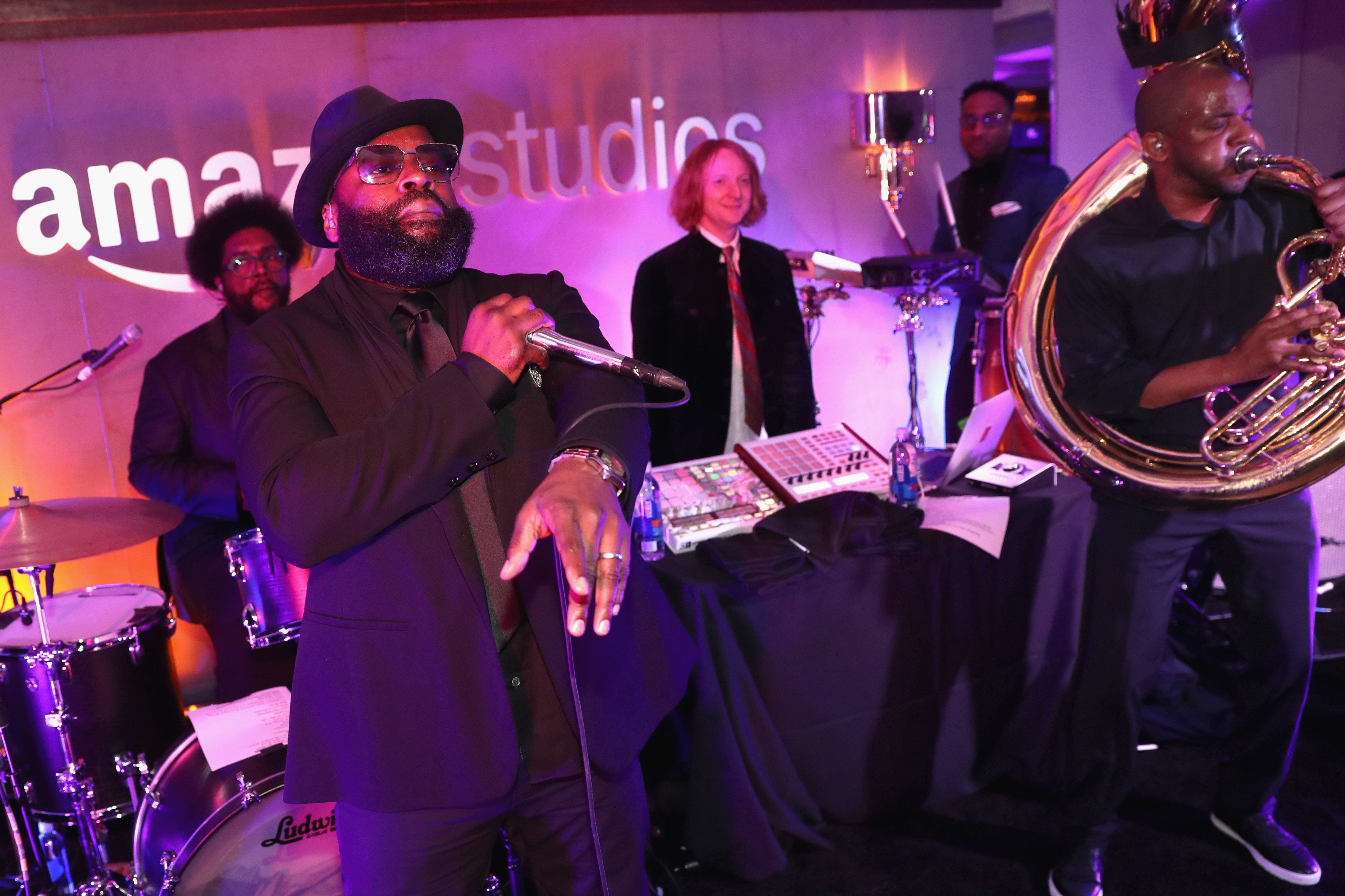 BEVERLY HILLS, CA - JANUARY 08:  Black Thought and Questlove of the Roots performs at the Amazon Studios Golden Globes Celebration at The Beverly Hilton Hotel on January 8, 2017 in Beverly Hills, California.  (Photo by Todd Williamson/Getty Images for Amazon)