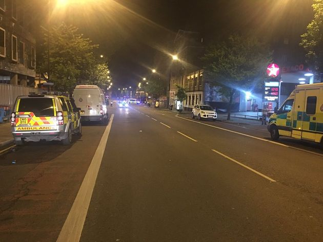 Monday evening's nightclub acid attack closed roads in Dalston, east London as police