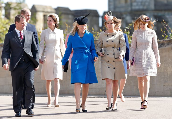 Peter and Autumn Phillips and Princesses Beatrice and Eugenie