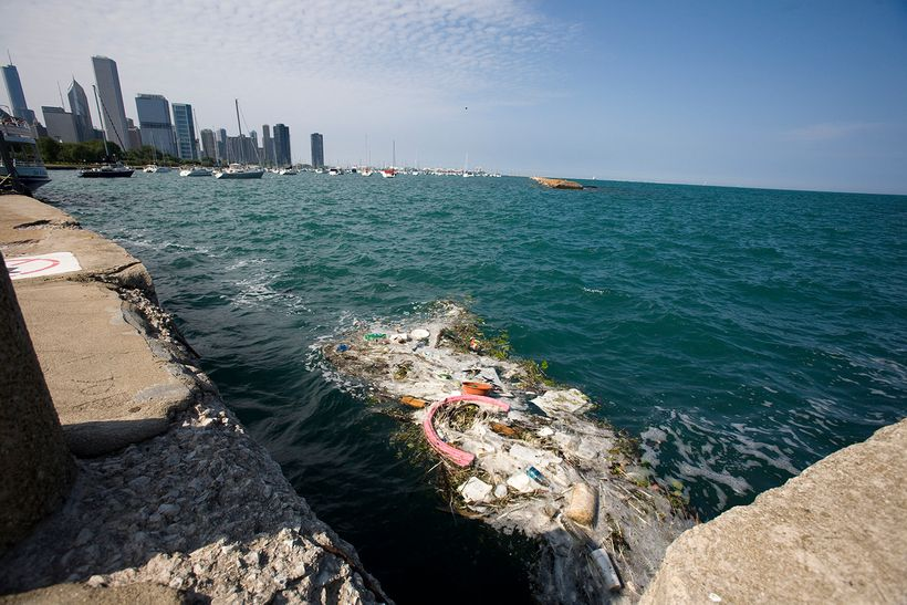 Debris floating in Lake Michigan