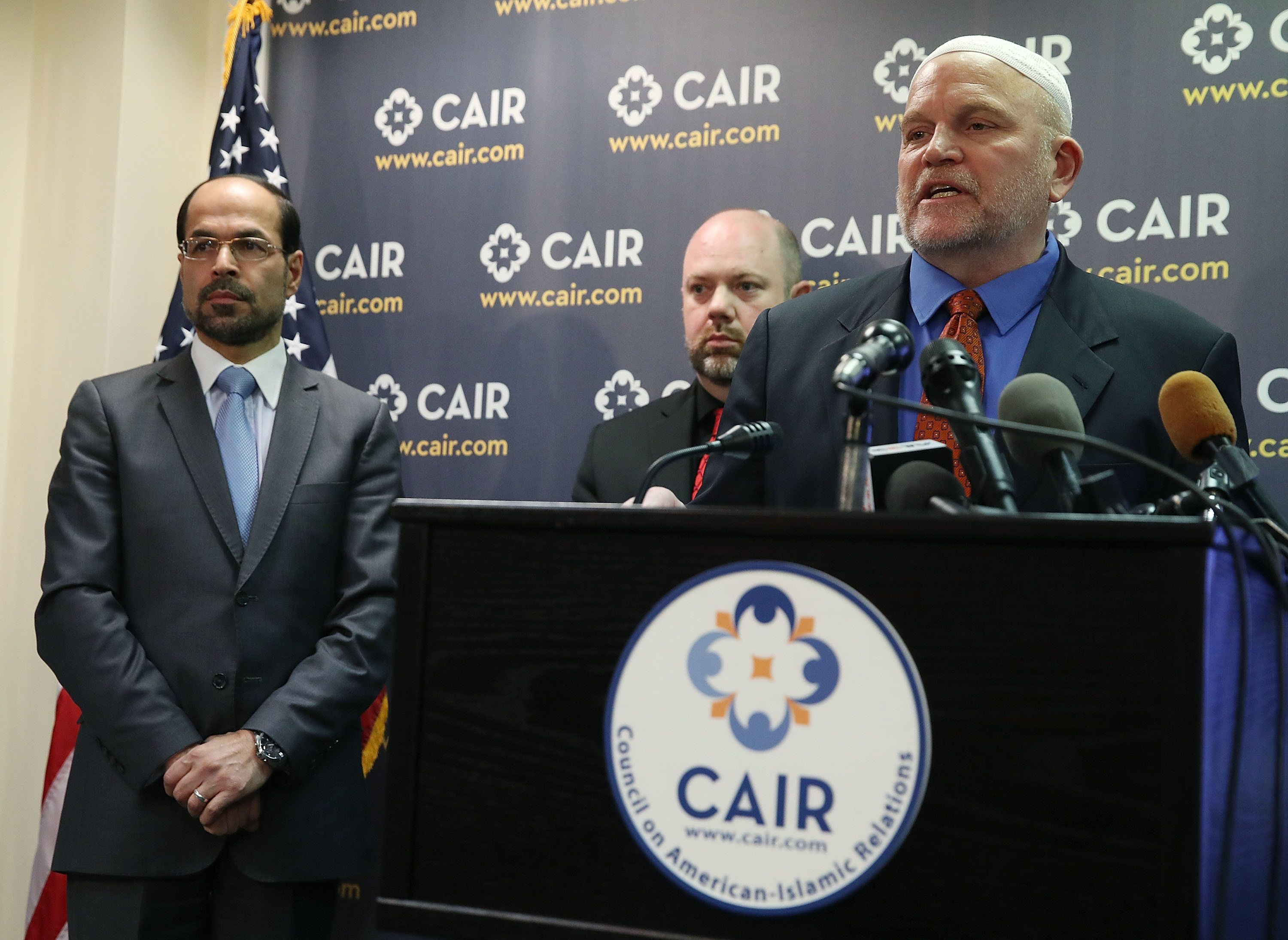 WASHINGTON, DC - MARCH 06:  Ibrahim Hooper (R), Corey Saylor (C), and Gadeir Abbas (L), of the Council on American-Islamic Relations (CAIR), speak to the media about the executive order U.S. President Donald Trump signed today about middle east travel, on March 6, 2017 in Washington, DC.  (Photo by Mark Wilson/Getty Images)