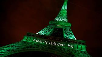 """The Eiffel tower is illuminated in green with the words """"Paris Agreement is Done"""", to celebrate the Paris U.N. COP21 Climate Change agreement in Paris, France, November 4, 2016. REUTERS/Jacky Naegelen/File Photo"""