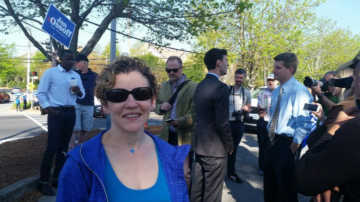 Dr. Larissa Pearlman with Ossoff at a campaign event.