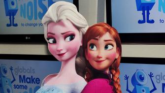 EMBARGOED TO 0001 THURSDAY OCTOBER 2 A cardboard cutout of Queen Elsa of Arendelle (left) and Princess Anna of Arendelle, from the film Frozen, during a photocall at Heart studios, in Leicester Square, London, as Heart announces that they'll be hosting a special Sing-along of Disney's Frozen for Heart listeners at the Prince Charles Cinema in London's West End on Saturday 25 October. Proceeds from the event will go to the new charity Global's Make Some Noise to help disadvantaged children and young people. Tickets are available at heart.co.uk.