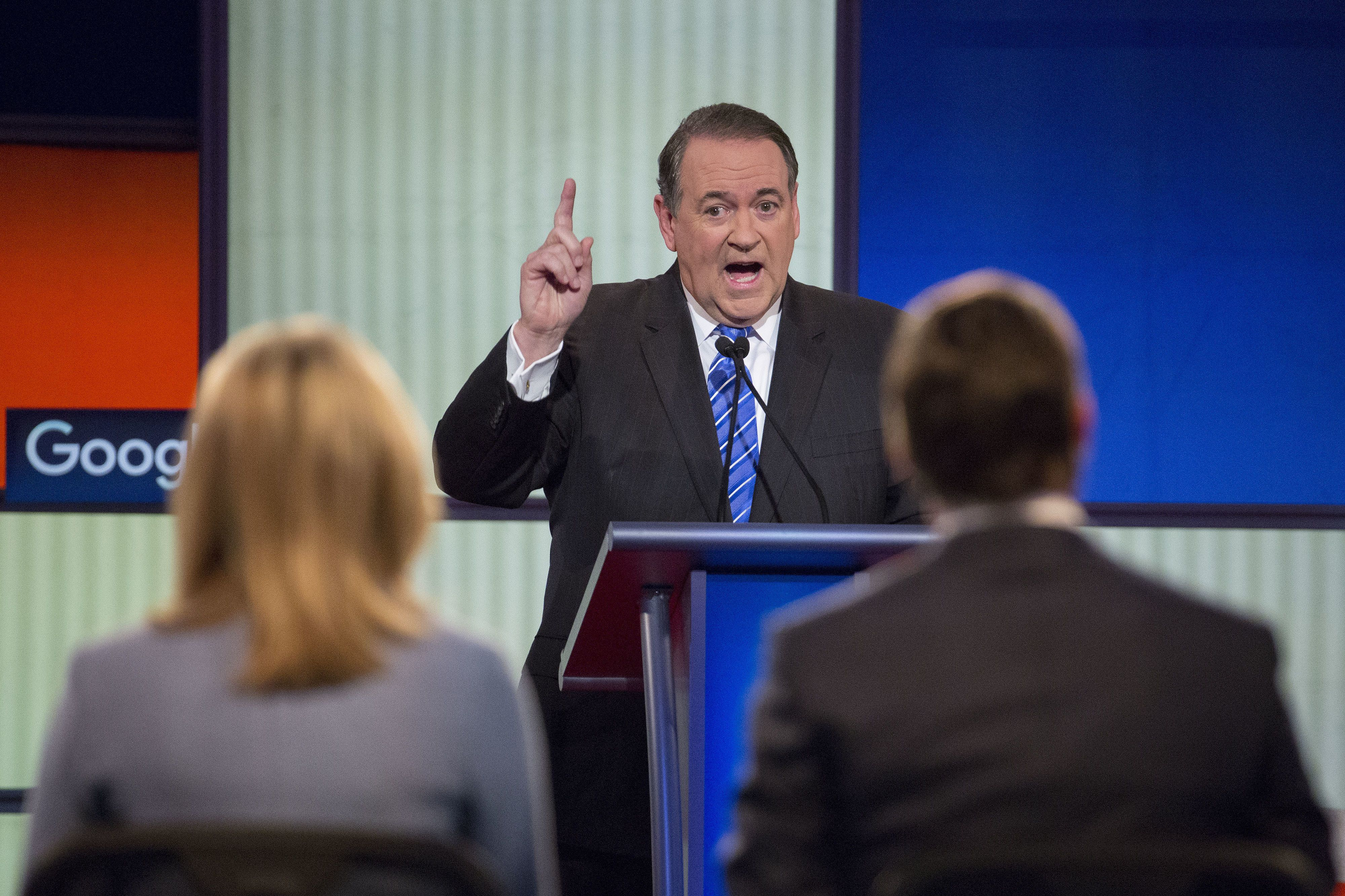 Mike Huckabee, former governor of Arkansas and 2016 Republican presidential candidate, speaks during the Republican presidential candidate debate at the Iowa Events Center in Des Moines, Iowa, U.S., on Thursday, Jan. 28, 2016. Candidates from both parties are crisscrossing Iowa, an agricultural state of about 3 million people in the U.S. heartland that will hold the first votes of the 2016 election on Feb. 1. Photographer: Daniel Acker/Bloomberg via Getty Images