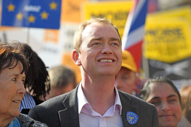 Tim Farron at a march against Brexit in