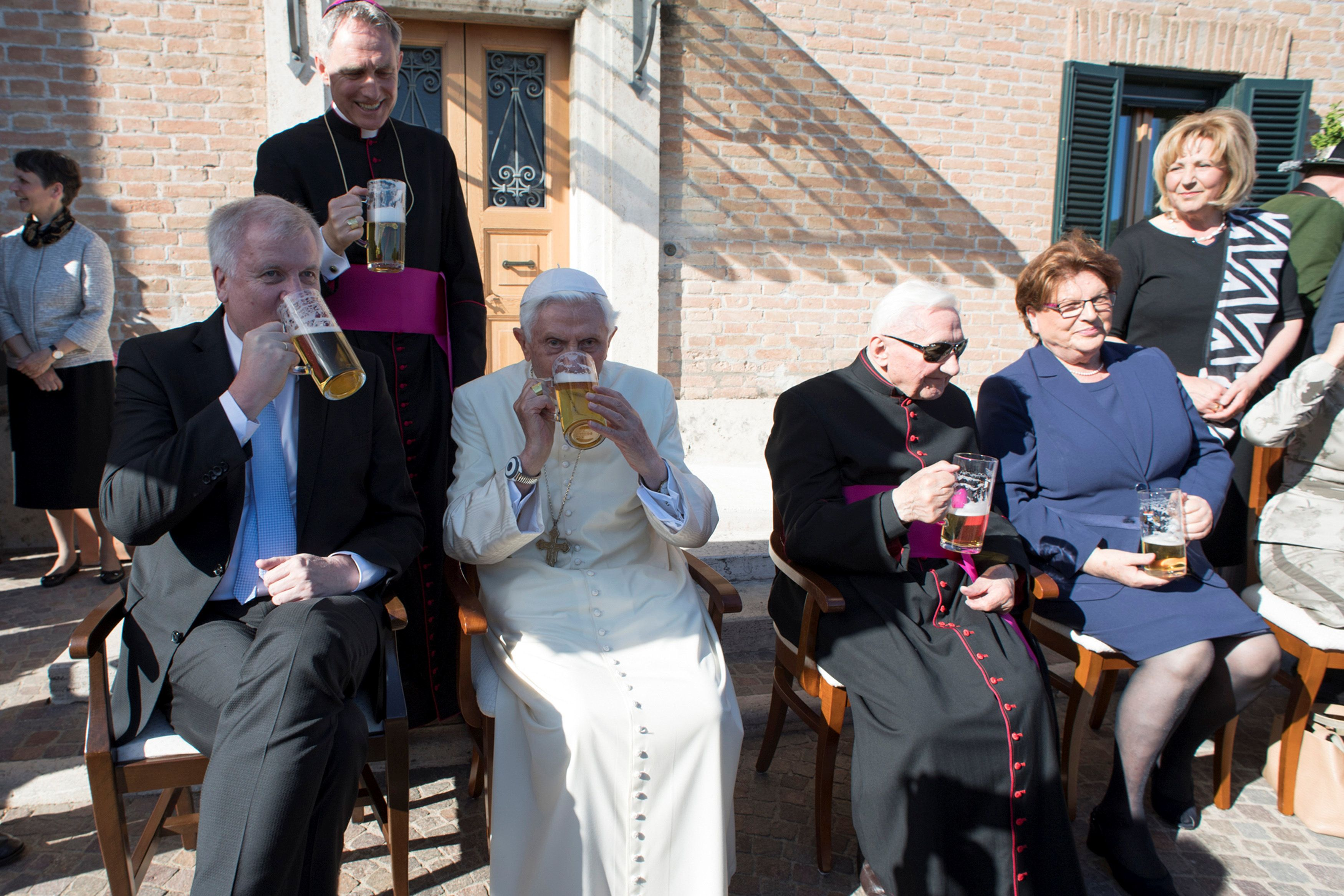 The party was held at a monastery on Vatican grounds.