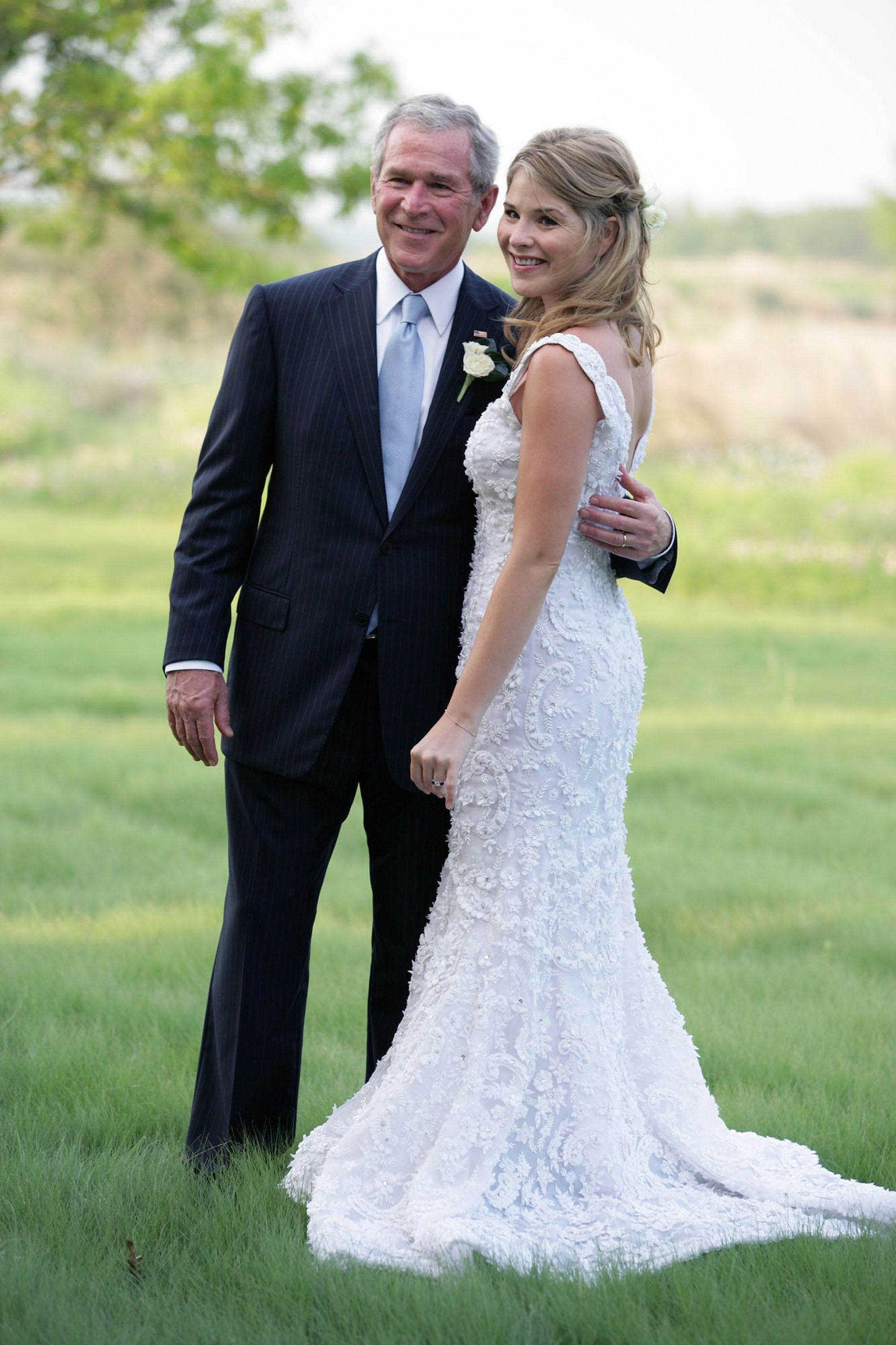 President George W. Bush and Jenna Bush Hager prior to her wedding on May 10, 2008. Hager says her father was a feminist