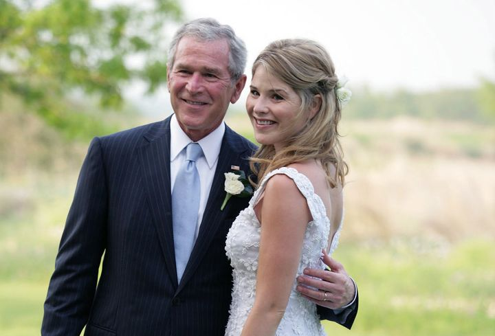 President George W. Bush and Jenna Bush Hager prior to her wedding onMay 10, 2008. Hager says her father was a feminist