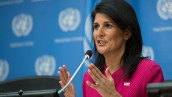 NEW YORK, NY - APRIL 3: U.S. Ambassador to the United Nation Nikki Haley answers questions during a press briefing at the United Nations headquarters, April 3, 2017 in New York City. Haley will serve as U.N. Security Council President for the month of April. (Drew Angerer/Getty Images)