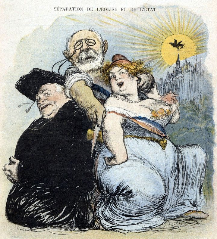 Caricature from a satirical paper, 'Le Rire', in May 1905, illustrating the separation of church and state in Fra