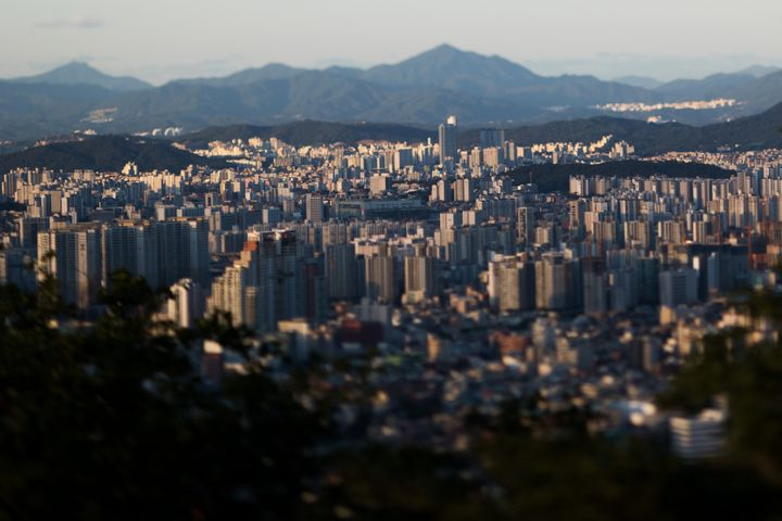 This photograph taken with a tilt-shift lens shows Seoul, South Korea, on July 16, 2015.