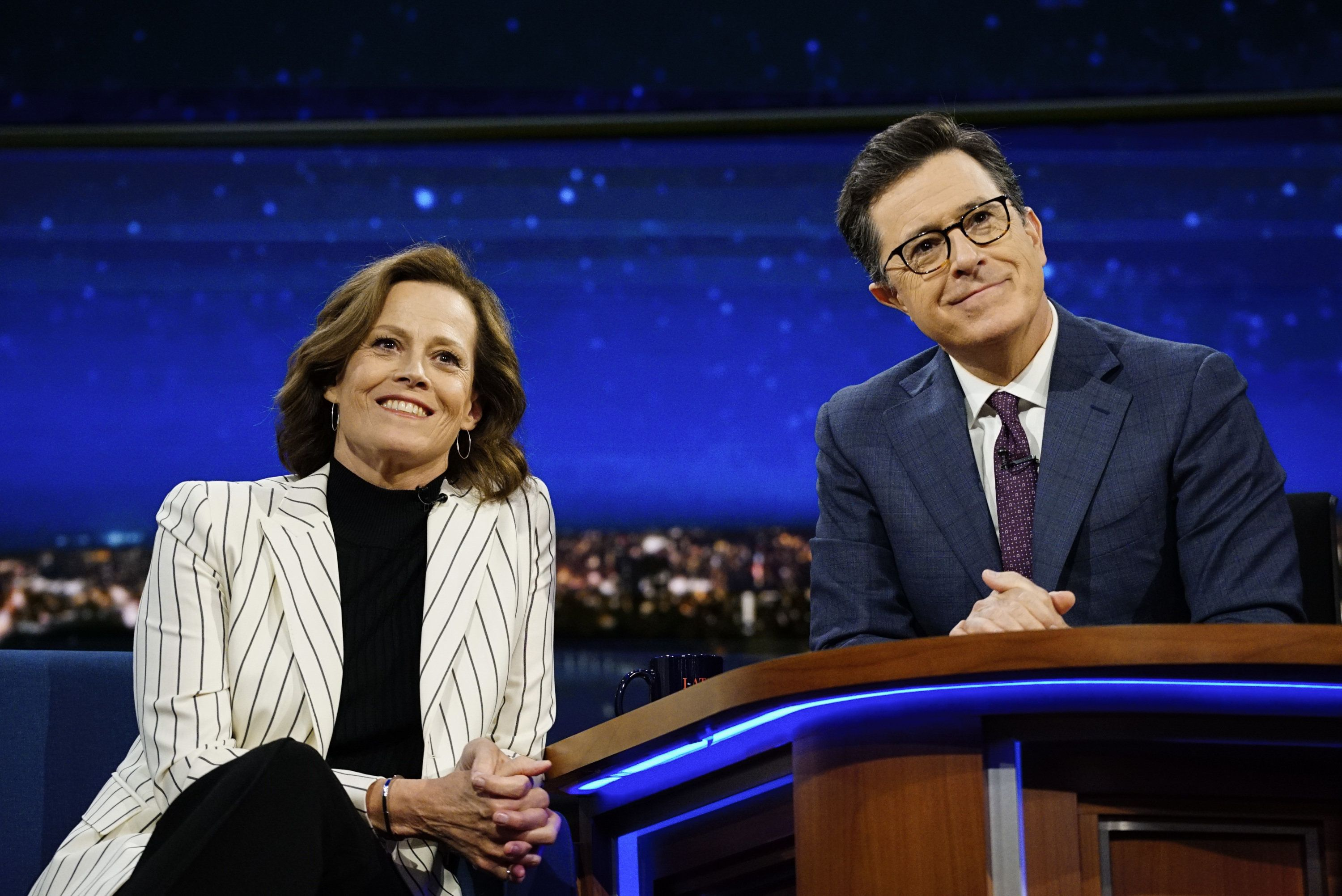NEW YORK - APRIL 5: The Late Show with Stephen Colbert airing Wednesday, April 5, 2017. Pictured L-R: Sigourney Weaver and Stephen Colbert. (Photo by Gail Schulman/CBS via Getty Images)