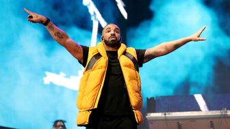 INDIO, CA - APRIL 15:  Drake performs on the Coachella stage during day 2 of the Coachella Valley Music And Arts Festival (Weekend 1) at the Empire Polo Club on April 15, 2017 in Indio, California.  (Photo by Christopher Polk/Getty Images for Coachella)