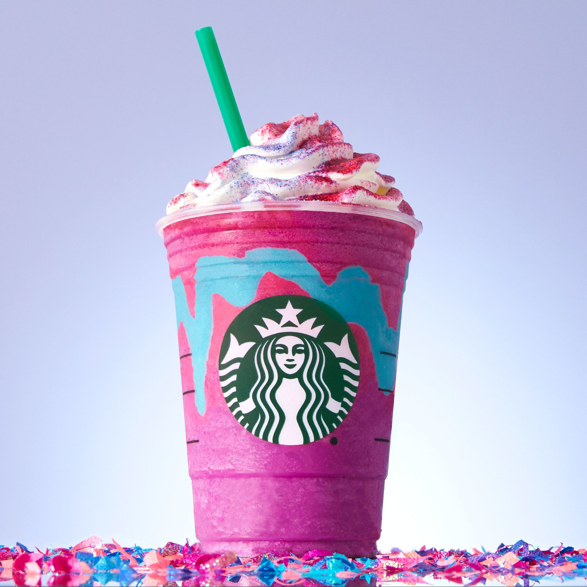 A beverage neither for nor of unicorns, but still a unicorn frappuccino.