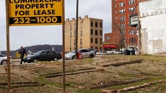 A community garden is seen in a vacant lot left over from one of few demolished buildings on Main Street in Wheeling, West Virginia,March 6, 2012. The city is struggling to find creative ways to deal with their down economy while waiting for new investment in the area, like the proposed Shell cracker plant. Residents are counting on cheap natural gas from the massive reserves in the Marcellus and Utica shale rock formations, which lie under a swathe of the north-eastern United States, to reinvigorate the region's economy. To match Feature APPALACHIA-CHEMICALPLANT/  REUTERS/Jason Cohn (UNITED STATES - Tags: BUSINESS INDUSTRIAL SOCIETY)