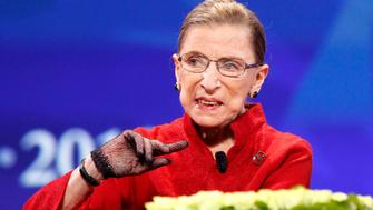 """Associate Justice Ruth Bader Ginsburg speaks during the lunch session of """"The Women's Conference 2010"""" in Long Beach, California October 26, 2010.    REUTERS/Mario Anzuoni  (UNITED STATES - Tags: ENTERTAINMENT POLITICS HEADSHOT)"""