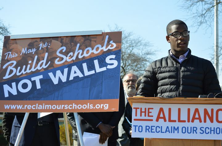 Detroit public school student DeMarcus Taylor at the launch of the Build Schools, Not Walls campaign.