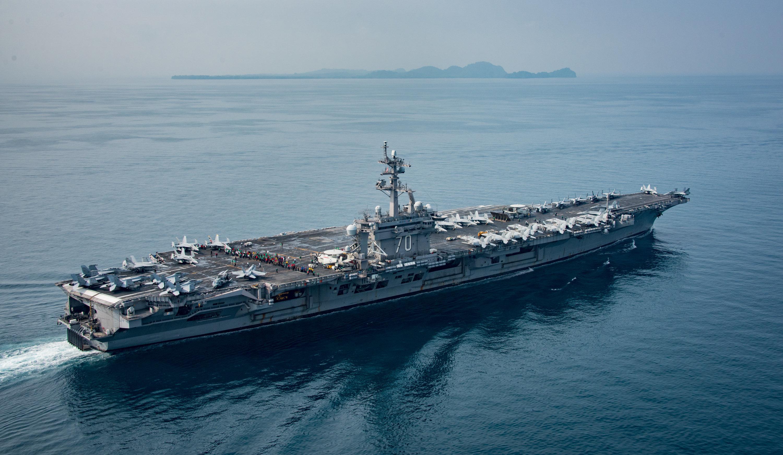 The aircraft carrier USS Carl Vinson transits the Sunda Strait on April 15,