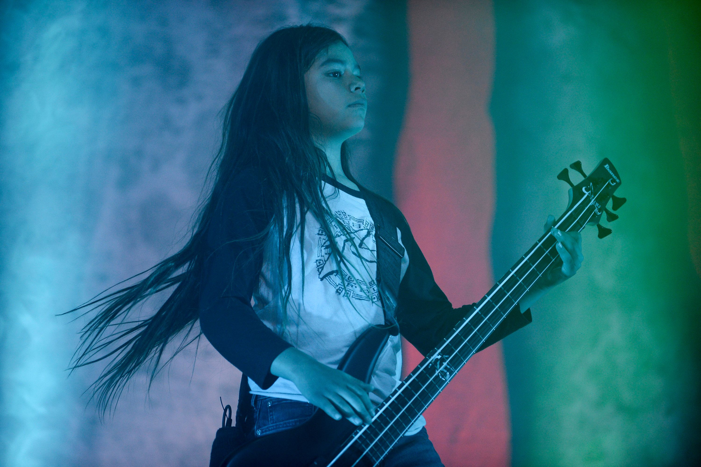 Korn's band 12-year-old Tye Trujillo, son of Metallica's bassist Robert Trujillo performs in Bogota on April 17, 2017, / AFP PHOTO / RAUL ARBOLEDA        (Photo credit should read RAUL ARBOLEDA/AFP/Getty Images)