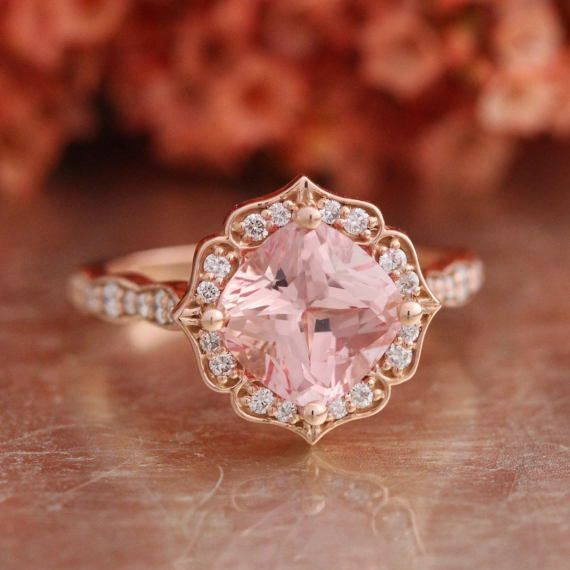 """<i>Buy it from <a href=""""https://www.etsy.com/listing/478468504/vintage-floral-champagne-peach-sapphire?ref=shop_home_active_4"""