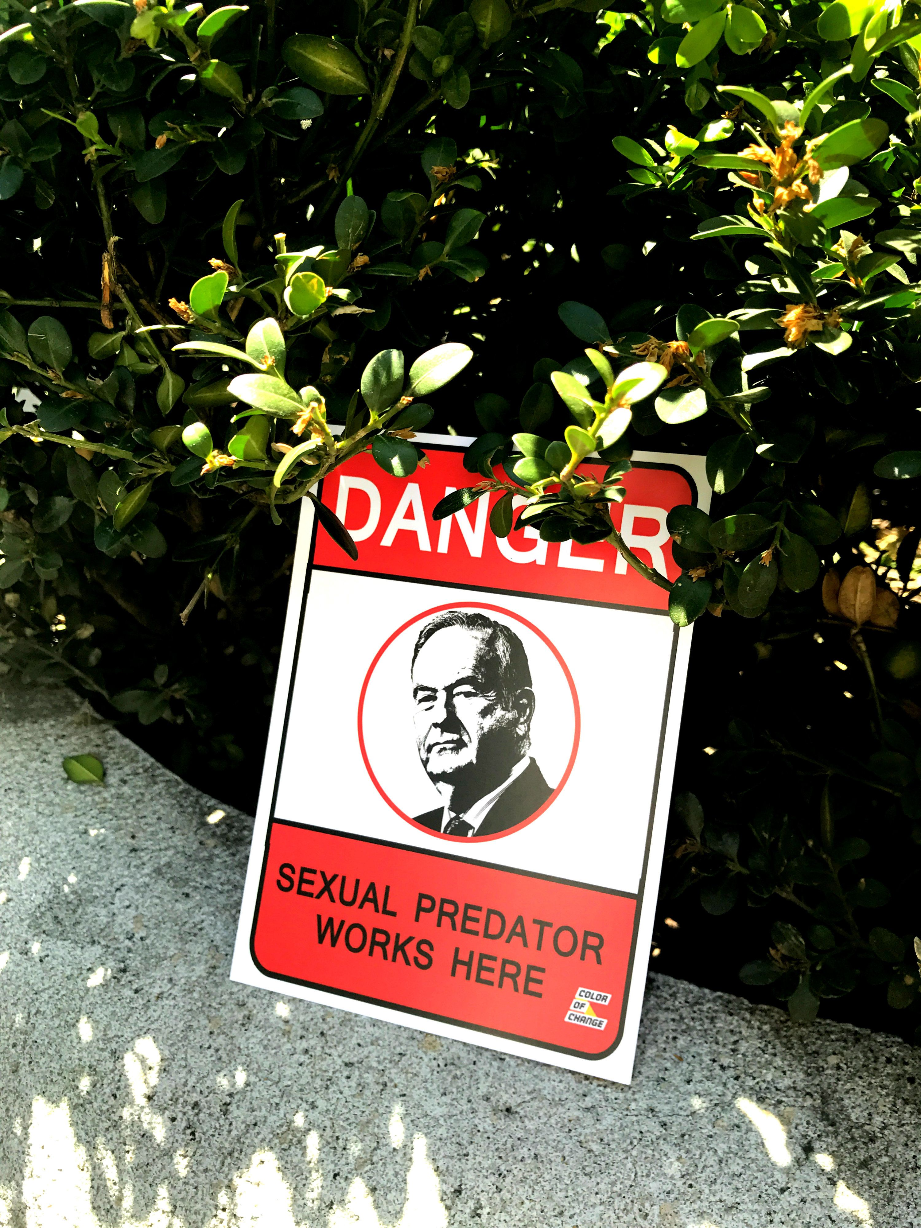 """Postcards handed out at the UltraViolet demonstration urging Fox News to """"drop O'Reilly."""""""