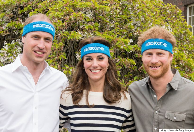 Prince Charles (left) with wife Kate Middleton (center) and younger brother Prince Harry, together promoting their organizati