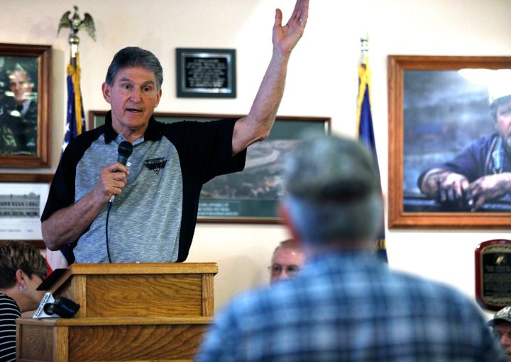Sen. Joe Manchin (D-W.Va.) holds a town hall meeting with coal miners on March 31, 2017, in Matewan, West Virginia.