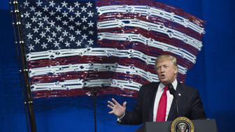US President Donald Trump speaks at Snap-On Tools in Kenosha, Wisconsin, April 18, 2017, prior to signing the Buy American, Hire American Executive Order. / AFP PHOTO / SAUL LOEB        (Photo credit should read SAUL LOEB/AFP/Getty Images)
