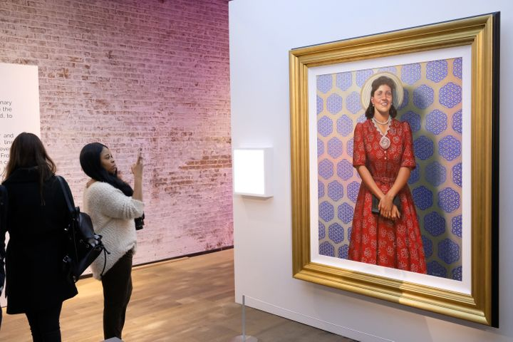 A portrait of Henrietta Lacks by artist Kadir Nelson hangs at HBO's The HeLa Project Exhibit in New York City.